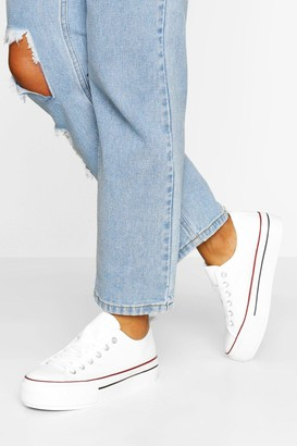 boohoo Platform Canvas Lace Up Sneakers