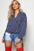 boohoo NEW Womens Plus Marnie Wrap Stripe Blouse in Polyester 3% Elastane