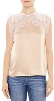 Sandro Ophelie Lace-Trimmed Silk Top