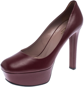 Gucci Dark Red Leather Platform Pumps Size 38