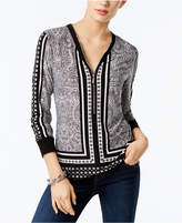 INC International Concepts Printed Zip-Up Top, Created for Macy's