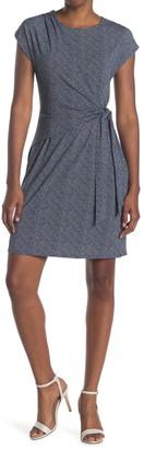 H Halston Extended Shoulder Draped Front Dress