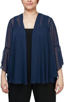 Alex Evenings Bell Sleeve Chiffon Cover-Up Jacket