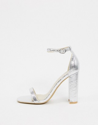 Glamorous silver barely there square toe block heeled sandals
