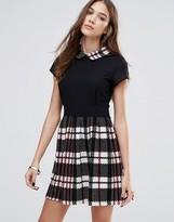 Wal G Skater Dress With Check Skirt