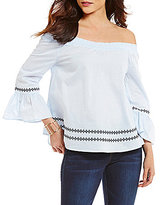 Copper Key Embroidered Bell Sleeve Off The Shoulder Top