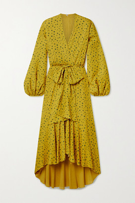Silvia Tcherassi Giannini Wrap-effect Polka-dot Crepe De Chine Midi Dress - Yellow