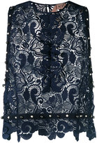 No.21 embroidered lace blouse - women - Polyester - 42