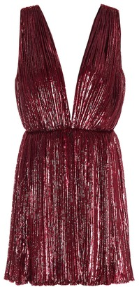 Saint Laurent Pleated lamA velvet minidress