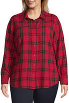 ST. JOHN'S BAY St. John`S Bay Plus Womens Long Sleeve Regular Fit Button-Front Shirt, 0x , Red