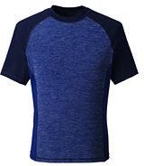 Lands' End Men's Tall Short Sleeve Space Dye Swim Tee-Charcoal Space Dye