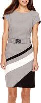 Studio 1 Cap-Sleeve Diagonal Striped Belted Sheath Dress - Petite