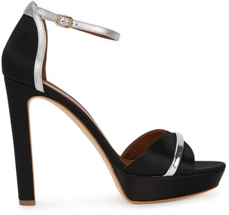 Malone Souliers Miranda 125 Black Satin Sandals