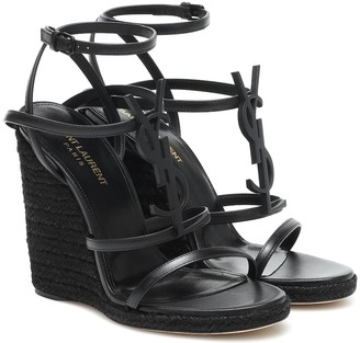 Saint Laurent Cassandra 115 wedge espadrille sandals