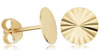 Fremada 14K Yellow Gold 8 millimeter Diamond-cut Disc Stud Earrings
