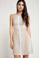 BCBGeneration Variegated Stripe Linen Blend Cutout Dress - Tan