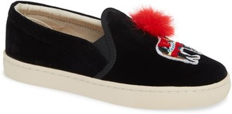 Soludos Applique Faux Fur Pompom Sneaker