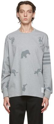Thom Browne Grey Jersey 4-Bar Icon Print Long Sleeve T-Shirt