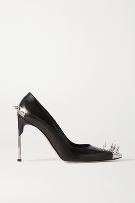 Alexander McQueen Spiked Leather Pumps - Black