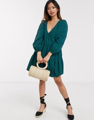 Asos DESIGN cotton poplin trapeze mini dress in forest green