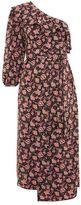 Topshop One shoulder paisley midi dress