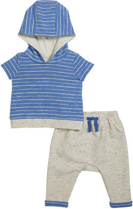 Miniclasix Boy's Striped Terry Hooded Top w/ Matching Joggers, Size 3-24 Months