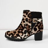 River Island Girls brown animal print ankle boots