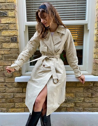 Stradivarius long trench coat in camel