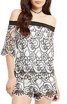 Gianni Bini Kerry Short Sleeve Off-the-Shoulder Lace Blouse