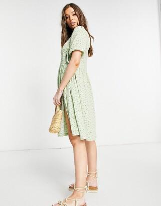 Monki Yoana recycled midi wrap dress in green floral print