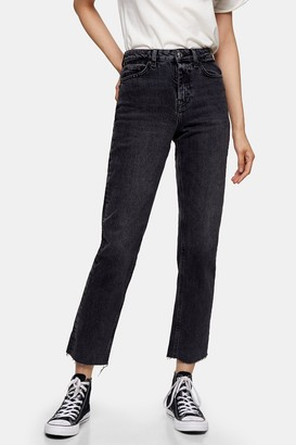 Topshop Womens Considered Washed Black Raw Hem Organic Cotton Straight Jeans - Washed Black