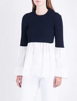 Kenzo Cotton-poplin and wool-blend top