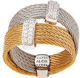 Alor Cable Stainless Steel & Diamond DoubleBand Ring