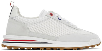 Thom Browne White and Grey Tech Runner Sneakers