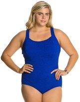 Penbrooke Krinkle Plus Size DCup Active Back Chlorine Resistant One Piece Swimsuit - 7534081