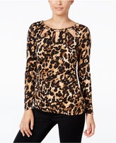 Thalia Sodi Animal-Print Cutout Blouse, Only at Macy's