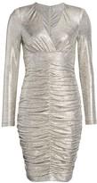 Ruched Long-Sleeve Metallic Sheath Dress