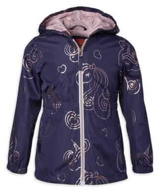 Pink Platinum Girls 4-16 Unicorn Print Hooded Midweight Anorak Jacket