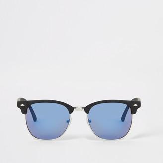 River Island Mens Blue lens retro frame sunglasses