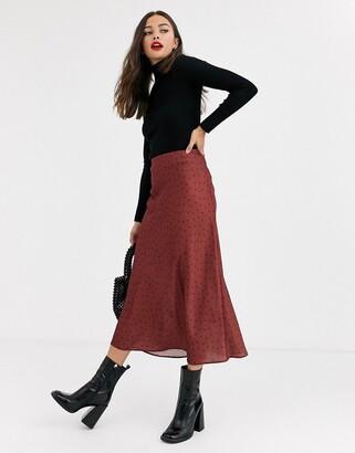 New Look polka dot satin bias cut skirt in brown