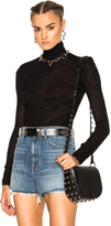 Alexander Wang Sheer Wooly Rib Long Sleeve Turtleneck