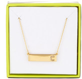 BaubleBar 14K Gold Plated Ice &C& Initial Bar Pendant Necklace