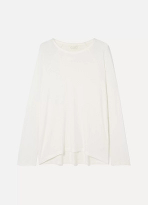 CALÉ Noelle Ribbed Stretch-modal Jersey Sweater - White
