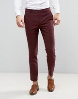 Asos Skinny Suit Pant In Burgundy Micro Texture