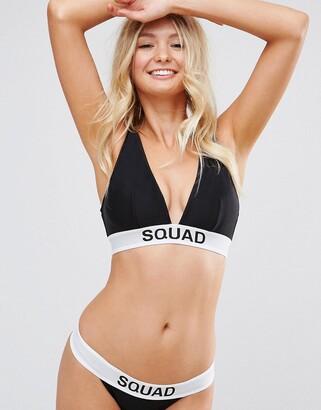 ASOS DESIGN FULLER BUST BRIDAL 'SQUAD' Elastic Slogan Triangle Crop Bikini Top DD-F