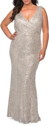 La Femme Sequin V-Neck Trumpet Gown