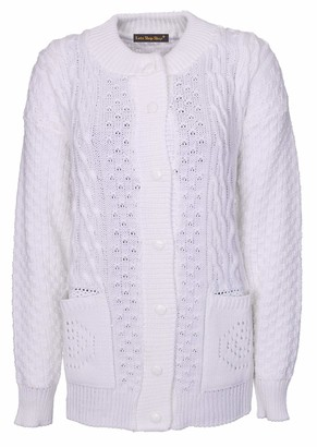 Lets Shop Shop Chunky Cable Knit Cardigan for Women Ladies Round Neck Long Sleeve Aran Plus Size 16 18 20 22 24 (SM