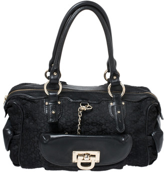 DKNY Black Signature Canvas and Leather Satchel