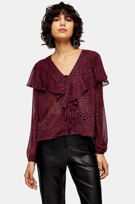 Topshop Heart Animal Print Tie Front Blouse