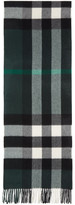 Burberry Green Large Classic Cashmere Check Scarf